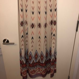 Flying Tomato cream maxi skirt with red print